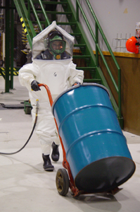 Simulation of nerve gas disposal in a BSL4 White Suit