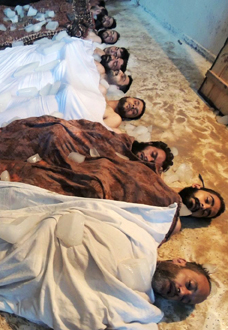 Civilians Lie In A Makeshift Mortuary After Being Killed Sarin Gas Attack AP